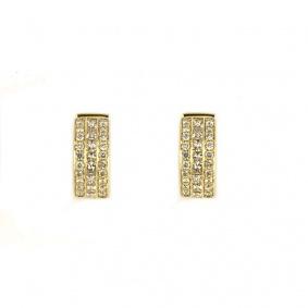 18k Yellow Gold Diamond Set Hoop Earrings 1.60ct